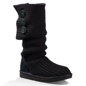 UGG Classic Cardy Button Knit Black Winter Boots 8